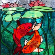 Koi Stained Glass by Heather Reed