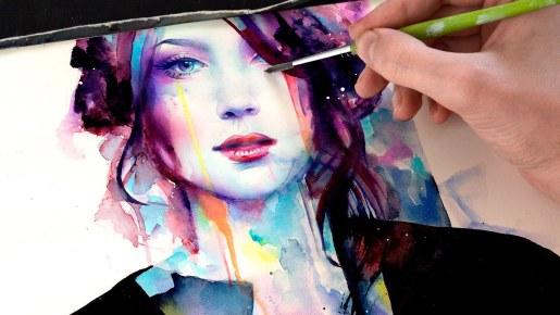 Video: Time Lapse Watercolor Portrait