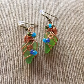 Sea Green Wirework Earrings