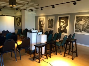 The Sesnon Art Gallery extends down the corridor in the Fellowship Lounge space, where the displays and dialogues are also held.