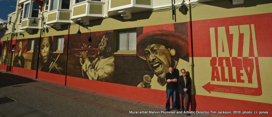 Jazz Alley mural in Birch Lane, painted by Santa Cruz artist Marvin Plummer,.