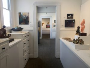 The gallery has multiple rooms featuring approximately seven exhibits each year.