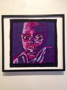 """Lost (Child)"" by Carolyn Cohen. Hand embroidered batik. 3rd Place Winner."