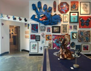 The exhibit features artwork Jim Phillips and 200 other contemporary artists from around the world.