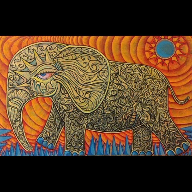 Wandering Elephant, by Ben Johnson. Oil on canvas.