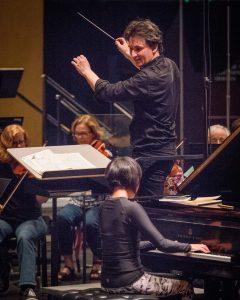 Maestro Daniel Stewart and Yuja Wang in rehearsal.