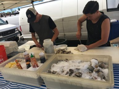 Shucking Oysters at the Farmers Market