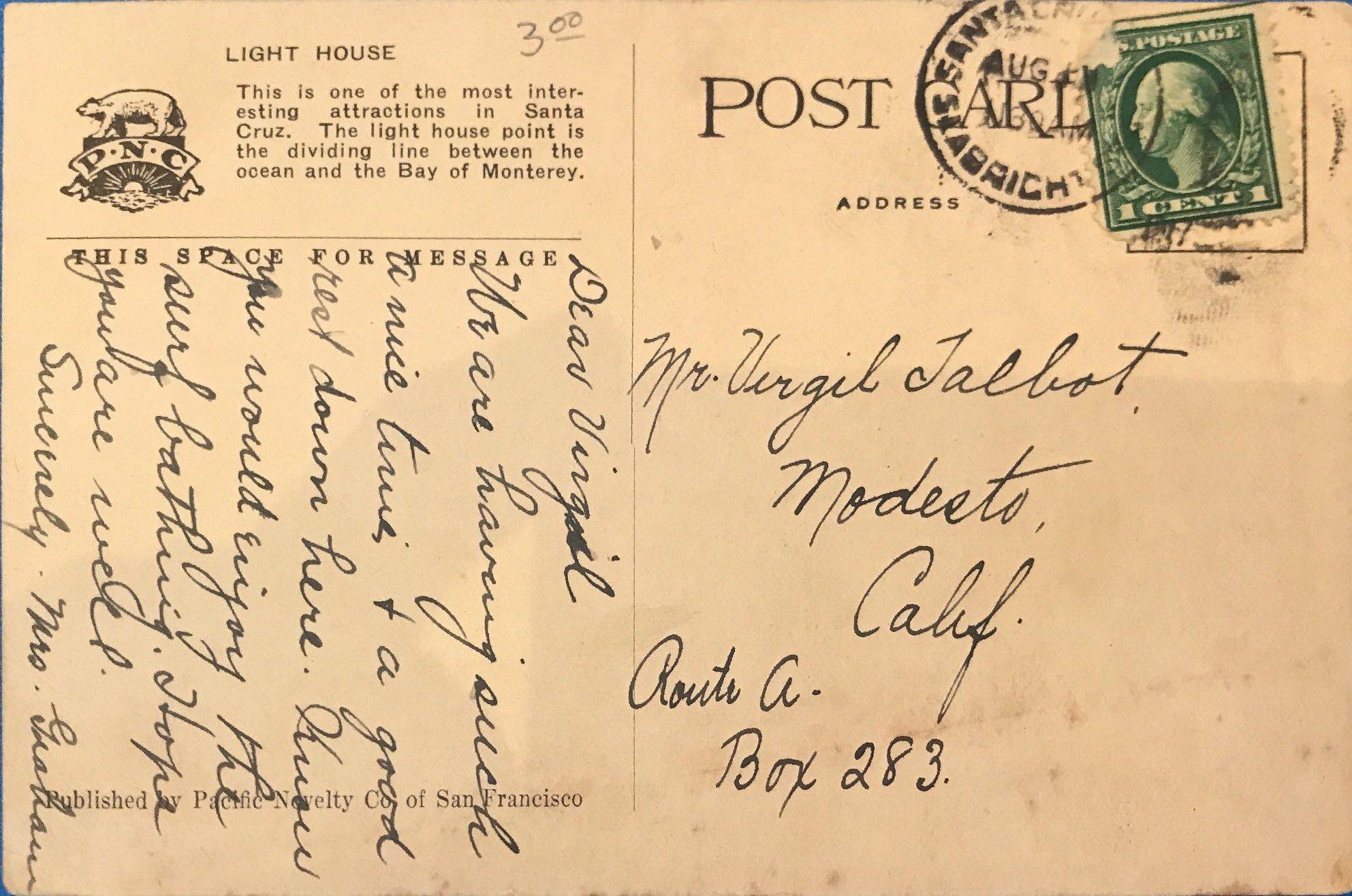 Light House Postcard Back