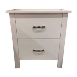 Molly Queen Size 5 Piece Bedroom Set, Paula White Colour 2 Drawer Bedside Table