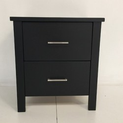 Black 2 Drawers Bedside Table