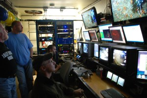 Scientists from different agencies explore the ocean together using the ROV Kraken2 on the NOAA Ship Nancy Foster.