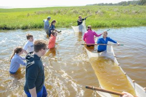 Danville HS students collecting samples during Chincoteague Bay Field Station program similar to LoSU's.