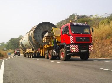 transport d'un broyeur de 125T à Balbazar Niger