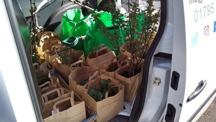 Edible Culture bags in van