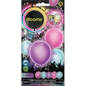 SACHET DE 5 BALLONS A LED UNIS 2 COULEURS PASTEL 21 X 10.5 CM