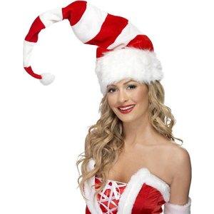 Bonnet de Noël long rayé rouge et blanc