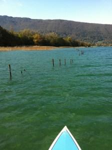 stand up paddle en novembre sur le lac d'Annecy