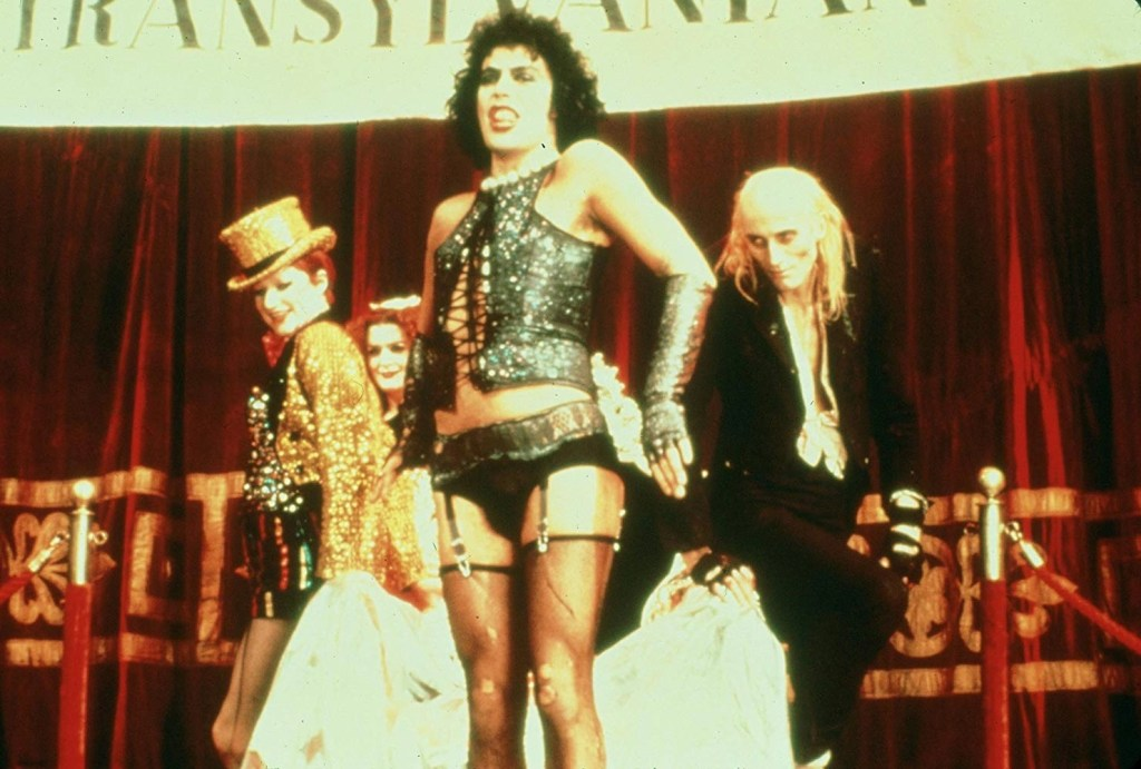 Tim Curry, Nell Campbell, Richard O'Brien, and Patricia Quinn in The Rocky Horror Picture Show (1975)