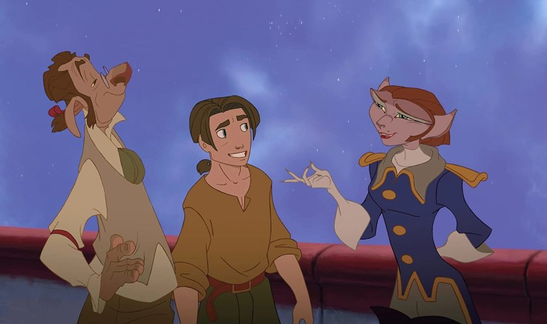 Emma Thompson, David Hyde Pierce, e Joseph Gordon-Levitt in Il pianeta del tesoro