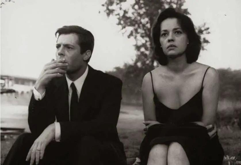 Marcello Mastroianni e Jeanne Moreau in La notte (1961)