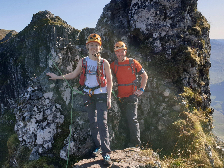 The Pinnacles on the Aonach Eagach. Enjoying a guided ascent of the Aonach Eagach, Glencoe with Lochaber Guides.