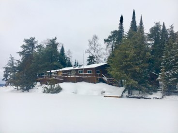 Loch Island Lodge in the snow