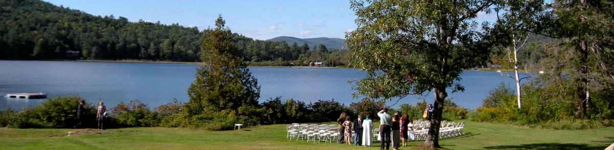 Wedding set up next to lake