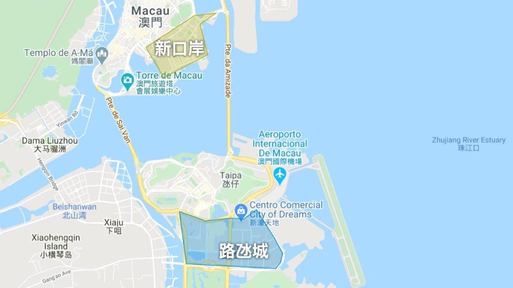 澳門飯店推薦 - 住宿區域地圖
