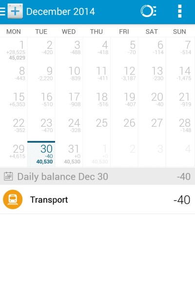 Dollarbird's calendar overview of expenses.