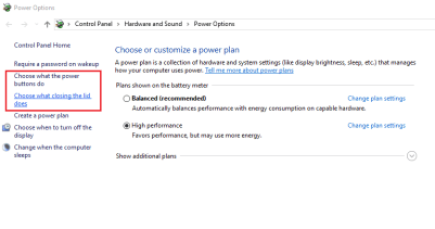 Power Options window