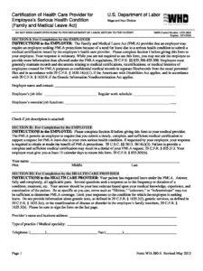 Fmla Certification Of Health Care Provider Employee