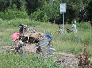 Grocery carts pulled from the Monument Creek Colorado Springs.