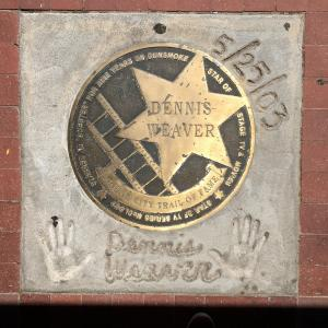Dennis Weaver plaque in Dodge City.