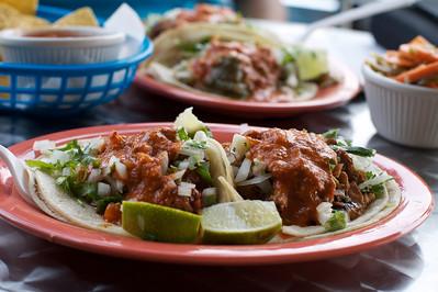 Tacos at a Mexican restaurant