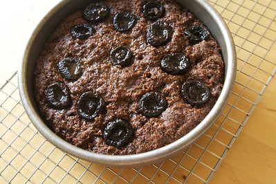 Sticky plum chocolate cake