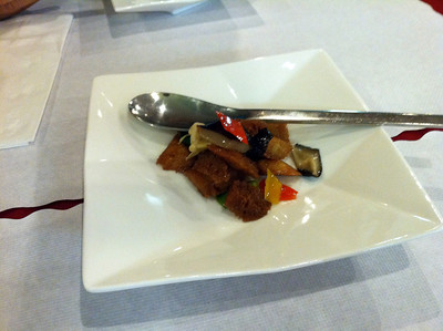 Fried wheat gluten with mushrooms, peppers, and chinese lily flower