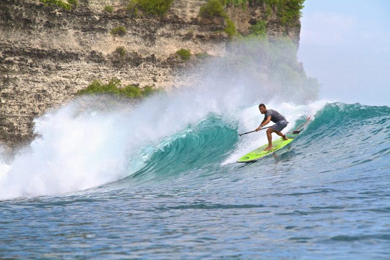 Jonny Paddle Surfing Balangan in Bali on 8'9'' Loco El Diablo SUP