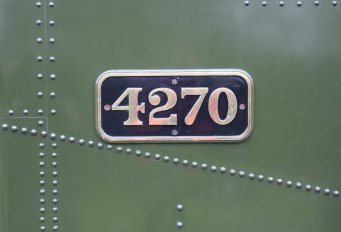 2014 Autumn Steam Gala Watercress Line - Ropley - GWR 42xx 2-8-0T 4270 numberplate