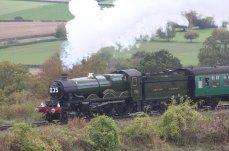 2014 Autumn Steam Gala Watercress Line - Approaching Ropley - Ex-GWR Castle Class - 5029 Nunney Castle