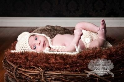 baby in bear hat in nest