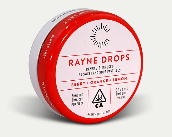 Round child resistant cannabis tin custom wrapped in red and white.