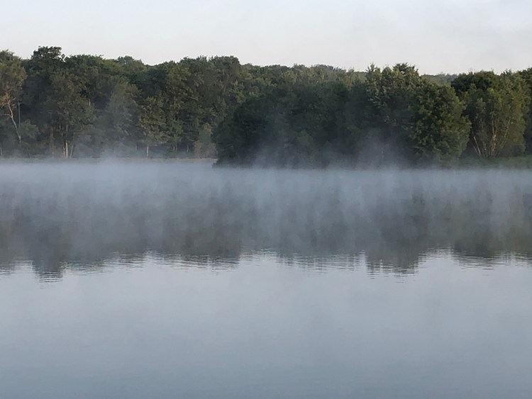 Mist rising over Pines Lake