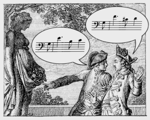 Why Music Is Not a Language © Lodewijk Muns 2019, after Chodowiecki, KunstKenntnis/Connoissance des Arts, 1779