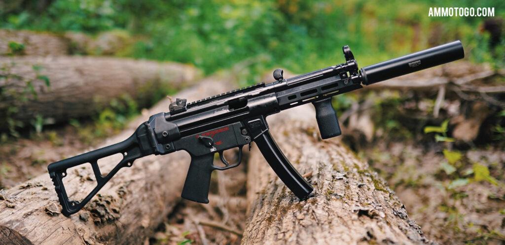 A silencer on H&K MP5 SBR