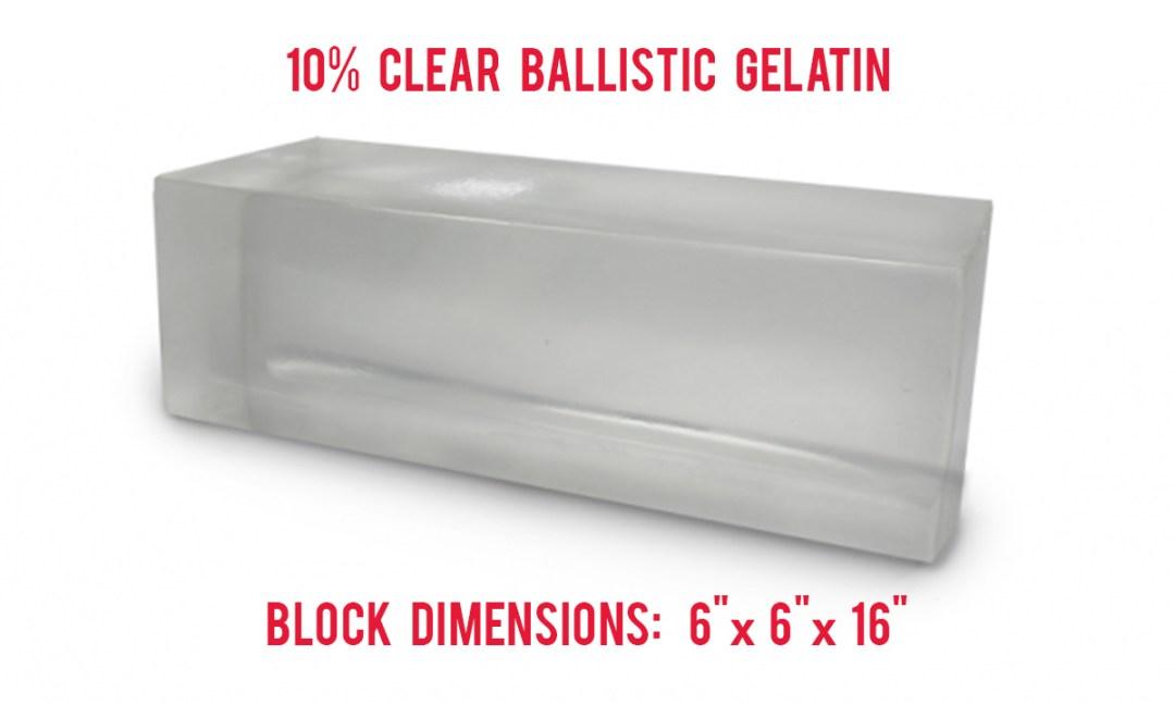 10% Clear Ballistics Gelatin Block Dimensions