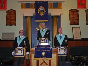 (Left to Right) W.Bro. Howard Smith - Senior Warden, W.Bro. Christopher Albion - Worshipful Master 2015/16, W.Bro. Geoffrey R. Weston - Junior Warden