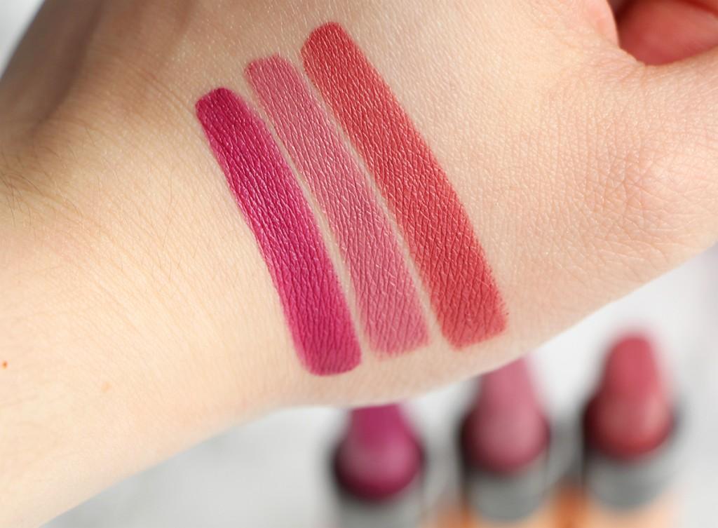 kiko swatch 314 315 316 velvet passion matte lipsticks