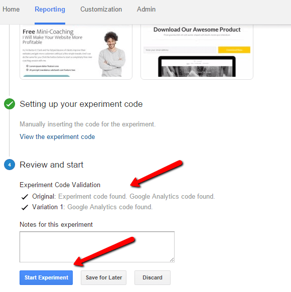 google analytics experiment validation