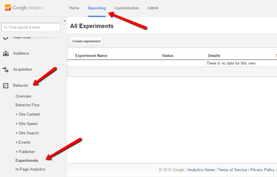 google analytics experiments