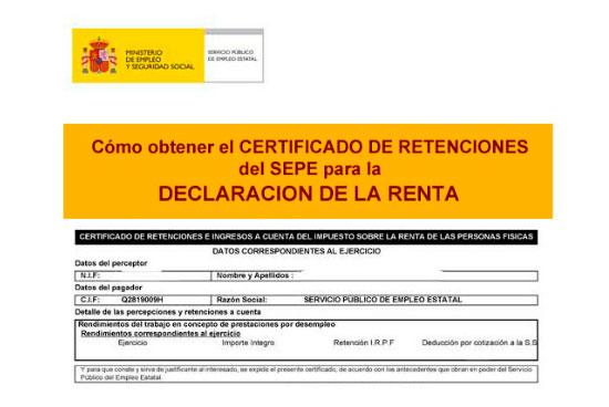 Certificado del paro para la renta